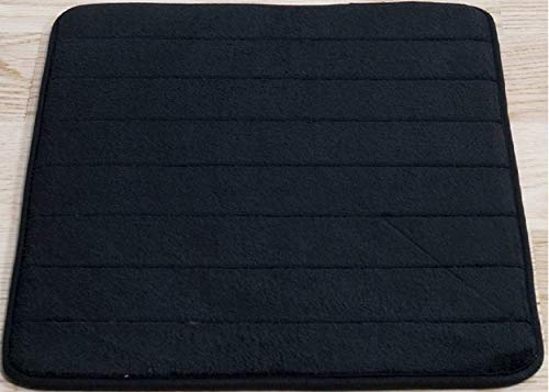 Black Memory Foam Bath Mat-Incredibly Soft and Absorbent Rug, Cozy Velvet Non-Slip Mats Use for Kitchen or Bathroom (17 Inch x 24 Inch, Black)