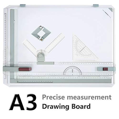 Bunao A3 Zeichenplatte, DIN A3 geo-Board zeichenplatte, hohe Qualität, Parallel-Zeichenschiene, nutführung mit Zubehör 49x35.5cm (Upgraded Weiß)