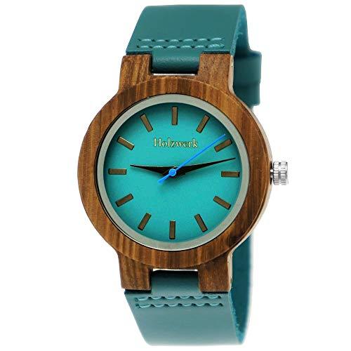 Handgefertigte Holzwerk Germany® Designer Damen-Uhr Öko Natur Holz-Uhr Leder Armband-Uhr Analog Klassisch Quarz-Uhr in Blau Türkis Braun (Blau-Braun.)