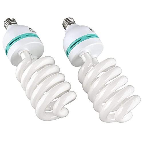 Seedforce 2 bombillas de 135 W para fotografía, 5500 K, E27, lámpara de luz diurna, bombilla de bajo consumo