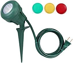 DEWENWILS Outdoor Spotlight Plug in, 400lm LED Waterproof Landscape Flag Floodlight Spike with 3 Lenses (Red Yellow Green) for Tree,Yard Garden Decor,5 FT Extension Cord,UL Listed