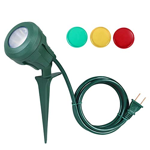 DEWENWILS Outdoor Halloween Spotlight Stake Plug in, 400lm LED Waterproof Landscape Flag Floodlight Spike with 3 Lenses (Red Yellow Green) for...