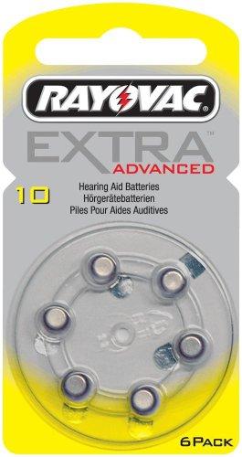 Rayovac - Extra Advanced - Lot de 60 piles auditives, pour appareils auditifs, taille 10 - 10 boîtes de 6