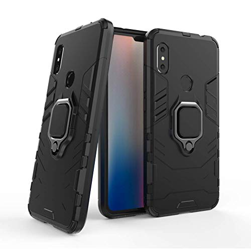 DWAYBOX Xiaomi Redmi Note 6 Pro Case Iron Man Design 2 in 1 Hybrid Heavy Duty Armor Hard Back Case Cover with Ring Holder for Xiaomi Redmi Note 6/Redmi Note 6 Pro 6.26 Inch (Black)
