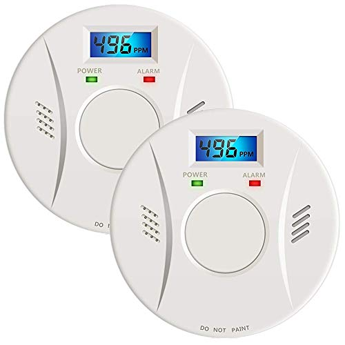 2 Pack Smoke and Carbon Monoxide Detector Battery Operated with LCD Display, Portable Fire Alarms Smoke Detector for Home and Kitchen
