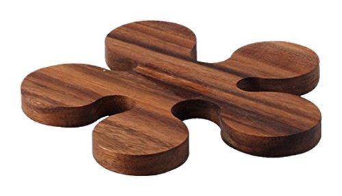 Continenta Topf- und Pfannen-Untersetzer aus Akazienholz in Klecks-Optik und Edel Qualität, Holz Topfunterlage, Größe: Ø 16 x 1,2 cm