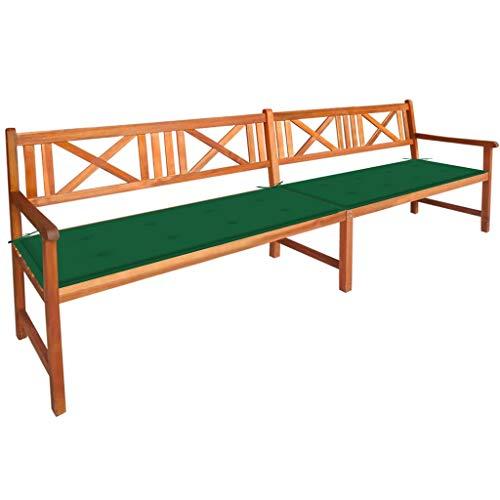 vidaXL - Banco de jardín de madera maciza de acacia con cojines banco de terraza banco de patio, mueble de jardín, mueble de exterior 240 cm