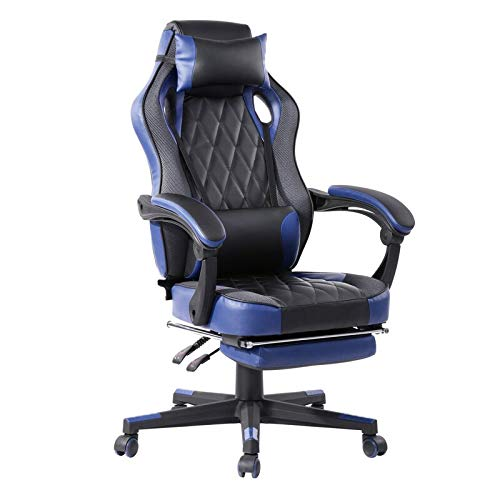 GGGAME Gaming Chair Racing Office Computer Ergonomic Video Game Chair Backrest and Seat Height Adjustable Swivel Recliner with Headrest and Lumbar Pillow Esports Chair Gaming Chair