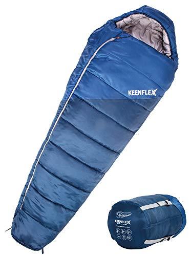 KEENFLEX Saco de Dormir de Invierno 4 Temporadas de 0ºC a -23.4ºC de Temperatura de Funcionamiento (Azul)