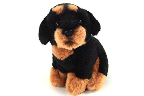 Teddys Rothenburg Kuscheltier Hund Rottweiler sitzend 12 cm schwarz/braun Plüschhund Plüschtier