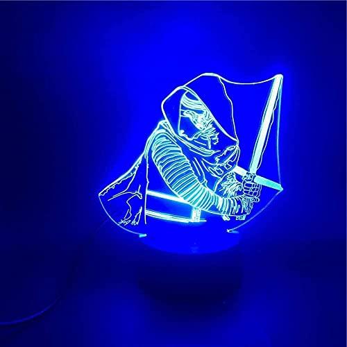 Lámpara de ilusión 3D Luz de noche LED Star Wars Dark K Control inteligente USB Dropshipping Lámpara de escritorio de dibujos animados genial Regalo de cumpleaños para niños 7 colores