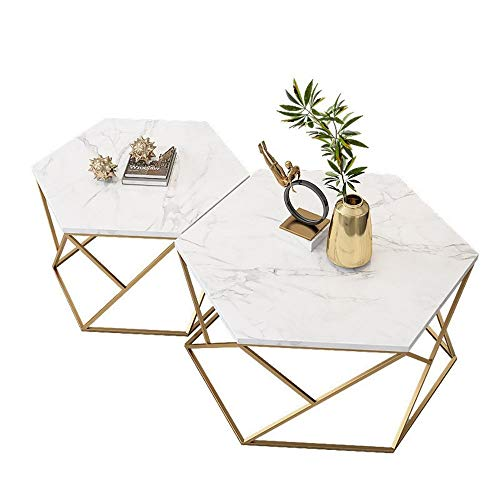 Fanuosuwr Elegant Tatami Coffee Table White Marble Coffee Table Home Small Apartment Sofa Side Table Hexagonal Iron Low Table Home Gifts (Color : White, Size : 80x80x40cm)