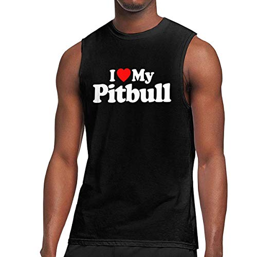 TYUHN Mens I Love My Pitbull Muscle Camiseta sin Mangas, Chaleco basal para Fitness Deportivo