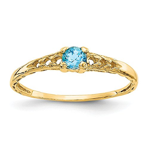 14k Yellow Gold 3mm Blue Topaz Birthstone Baby Band Ring Size 3.00 December Fine Jewelry For Women Gifts For Her 14k June Birthstone Ring