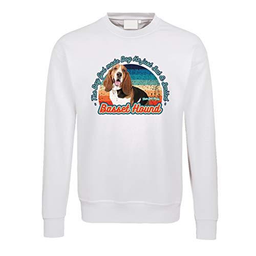 Gänseblümchendruck Hunde Pullover 02 weiß Basset Hound Hush Puppy Dog Tiermotiv Rasse XXXL Weiß