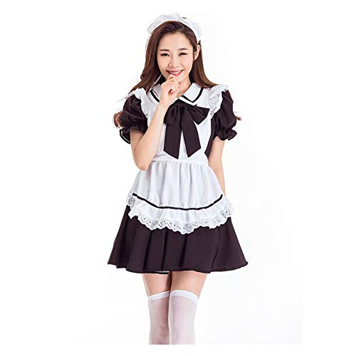 ADosdnn Black Lolita Maid Vestido Disfraces Cosplay Lindo Traje para nias Mujer Mujer Camarera Camarera Fiesta Escenario Trajes Linda Lolita (Color : Black, Size : Medium)
