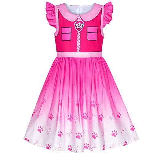 Sunny Fashion Vestido para niña Patrulla Canina de la Pata Skye Disfraz Fiesta de Halloween Infantil Cosplay Cumpleaños Navidad 7 años