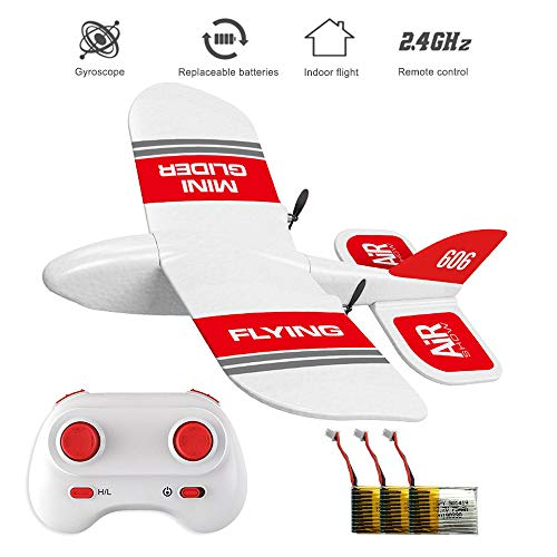 HIOTECH KF606 2.4Ghz RC Airplane Mini Indoor Flying Aircraft EPP Foam Glider Toy Airplane Built-in Gyro RTF Remote Control Toys Kids Gifts (KF606+ 3 Battery)