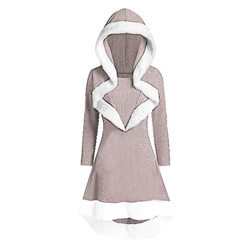 Andouy Damen Oversized Hoodies Modisch Asymmetrischer Rüschensaum Mantel Kleid Party Tops(XL.Beige)