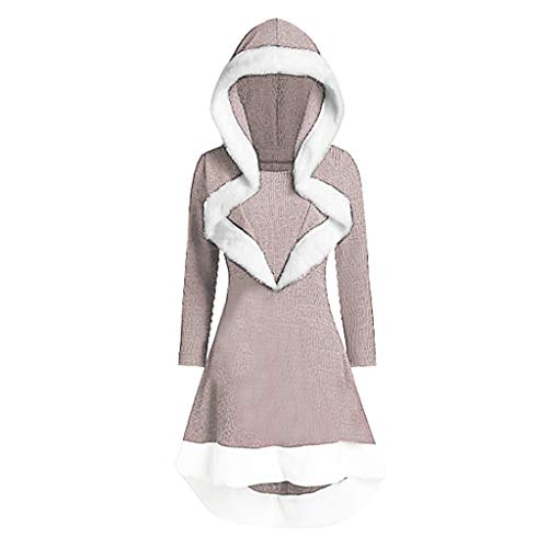 Andouy Damen Oversized Hoodies Modisch Asymmetrischer Rüschensaum Mantel Kleid Party Tops(XL.Beige)