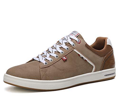 ARRIGO BELLO Zapatos Hombre Vestir Casual Zapatillas Deportivas Running Sneakers Corriendo Transpirable Tamaño 40-46 (45 EU, marrón)
