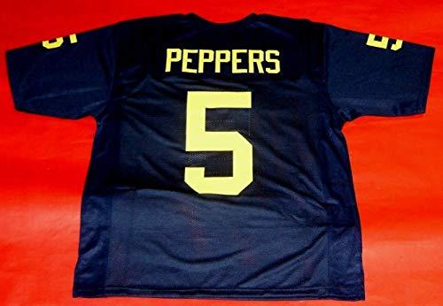 JABRILL PEPPERS BLUE MICHIGAN CUSTOM STITCHED NEW FOOTBALL JERSEY MEN'S XL