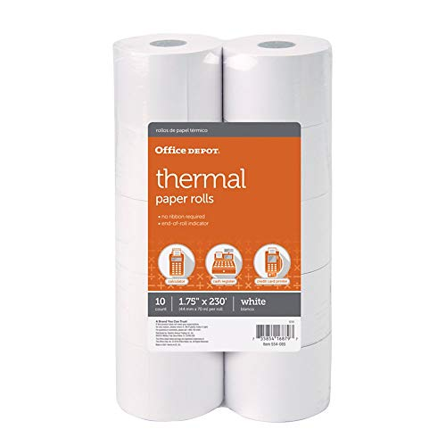 Office Depot Adding Machine Thermal Paper Rolls, 1 3/4in. x 230ft, White, Pack of 10 Rolls, 554085