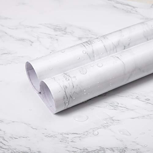 Niviy Papel Adhesivo para Muebles 90x200cm Vinilo Adhesivo Decoración práctica de la casa Adhesivo para Mueble Antifouling y Resistete a Humedad (Mate Gris Blanco)
