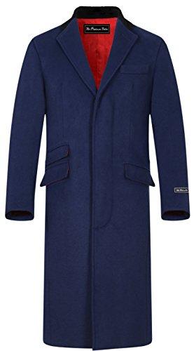 The Platinum Tailor Herren Marine blau Baumwolle & Kaschmir Covert Mantel warm Winter Mod Cromby Mantel Samtkragen & rot Satin-Futter - Marineblau, 58