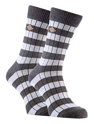 FARAH® - 2er Pack Herren Vintage Qualität Baumwolle Socken mit Gestreift (39/45, 03 Slate/Light Grey)