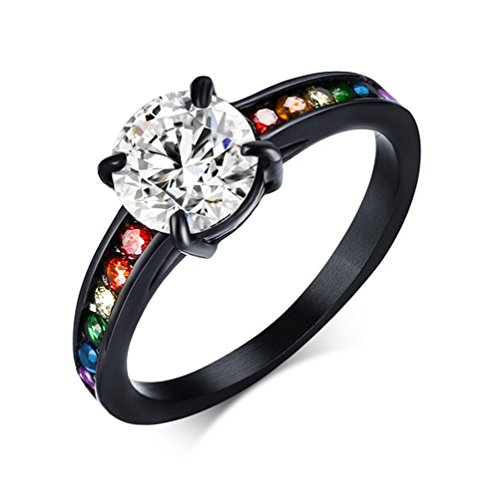 Dreamy Black Main Gem Rainbow Ring -Gay & Lesbian Pride Stainless Steel Ring (Great as Gay Gift or Wedding Marriage or Engagement band w/ CZ Stones). GLBT / LGBT Pride Jewelry (6)