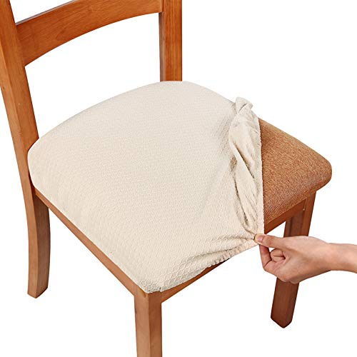 smiry Stretch Spandex Jacquard Dining Room Chair Seat Covers, Removable Washable Anti-Dust Dinning Upholstered Chair Seat Cushion Slipcovers - Set of 6, Beige