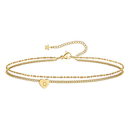 Holylove Ankle Bracelets for Women Heart Initial Anklet,...