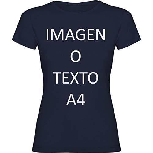 YISAMA Camisetas Personalizadas Dama. T-Shirts para Regalos Restaurantes, Eventos, Empresas, Uniformes (Azul Marino, Large)