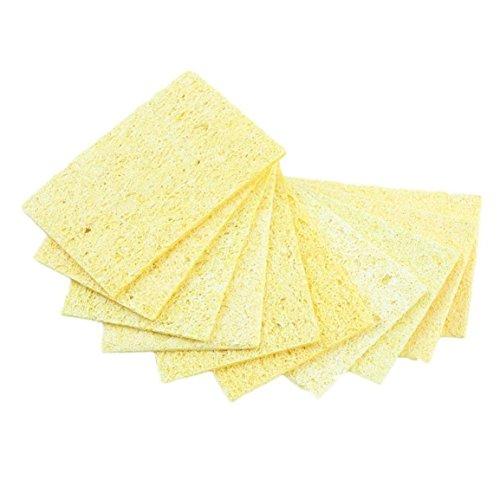 MEILUAIMU 10 Piezas Resistente a Altas temperaturas Soldador Punta de Soldadura Esponja de Limpieza de Soldadura Esponja de Limpieza Amarilla Estable al Calor