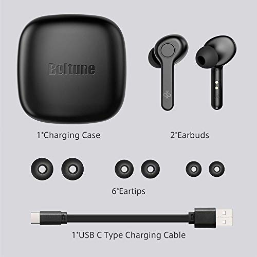 Wireless Earbuds, [Upgraded] Boltune Bluetooth 5.0 True Wireless Earbuds in-Ear Headsets with Mic CVC 8.0 Noise Cancelling, IPX8 Waterproof, USB-C Quick Charge, 40Hours Playtime, Single/Twin Mode