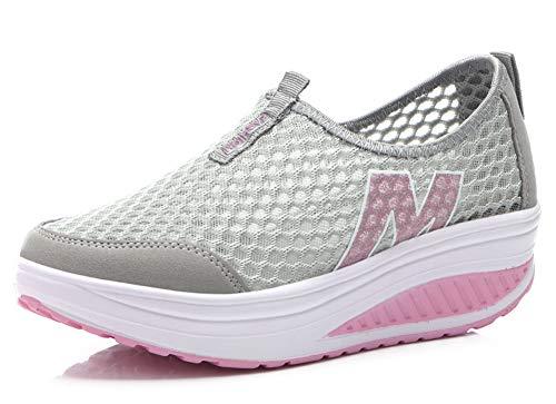 Mujer Zapatos de Deporte Adelgazar Zapatos Sneakers para Caminar Zapatillas Aptitud Cuña Plataforma Zapatos de Cuero Gamuza Primavera Verano Zapatos de Cuña
