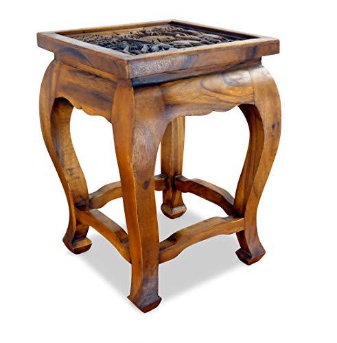 livasia Hoher Opiumtisch, asiatischer Beistelltisch der Marke Asia Wohnstudio, Thailändischer Altartisch, Nachttisch, Asia Möbelstück mit Elefantenschnitzerei und Glasscheibe