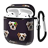 Slim Form Fitted Printing Pattern Cover Case with Carabiner Compatible with Airpods 1 and AirPods 2 / English Bulldog Pattern