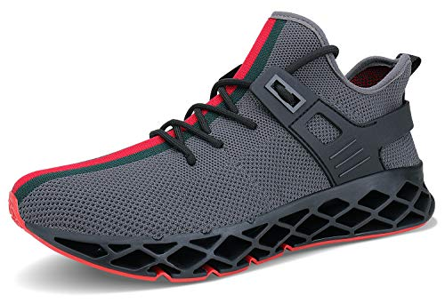 Acreat Herren Laufschuhe Fitness straßenlaufschuhe Sneaker Sportschuhe atmungsaktiv rutschfeste Mode Freizeitschuhe, 4-grau, 45 EU