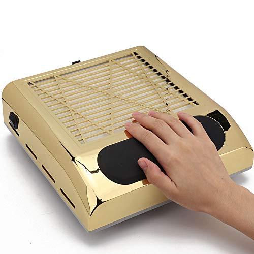 Aspiratore per collettore di polveri per unghie, strumento di manicure per aspiratore per unghie potente 80 W professionale con filtro antigoccia Aspirapolvere(Gold)