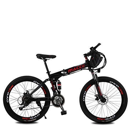 LOVE-HOME Plegable Bicicleta De Montaña Eléctrica, 26 Pulgadas De 36V / 12Ah Bicicletas Eléctrica con La Bolsa Extraíble De Iones De Litio, 3 Modos De Ciclo Resistencia 40-50KM,Negro
