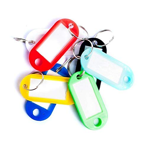 LAVALINK Key Tags with Split Ring, Key Fobs Labels Id Keyring Tags for Luggage Pet Name Memory Stick Tags (random Color)