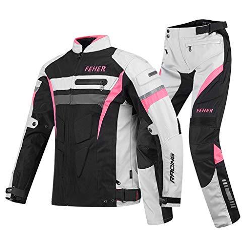 SM-River Motorradjacke wasserdichte Hose Anzug Für Männer Biker Riding Motocross Racing Rindsleder Material Der Schutzrüstung (White pink,XXXXXL)