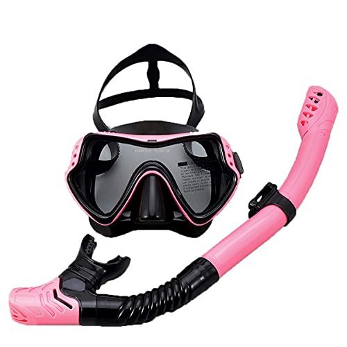 LLC Kit Profesional de Snorkeling, Kit de Snorkel seco, Equipo de Snorkel para Adultos con Vista panorámica y Vista Grande, Adecuado para Adultos y Adolescentes,Rosado
