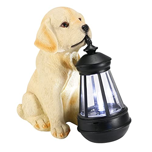 Blingbin Resin Dog Figurine Light,Decorative Dog Statue Light,Outdoor Decorative Solar Lights, for in Gardens, Lawns and Courtyard Homes