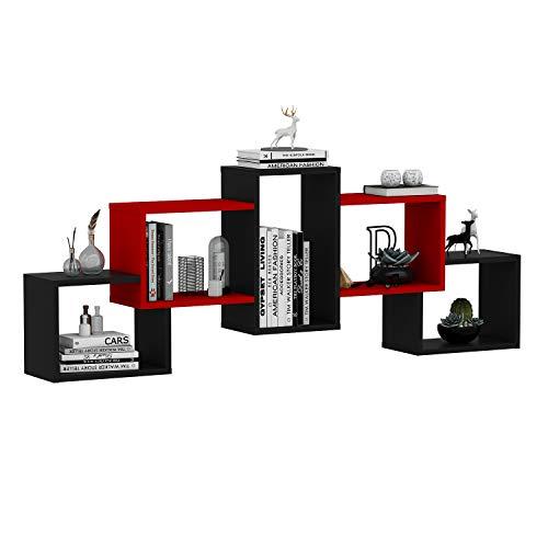 mensole da muro rosse HOMIDEA Bold Mensola da Muro - Mensola Parete - Mensola Libreria - Scaffale pensile per Studio/Soggiorno in Design Moderno (Nero/Rosso)