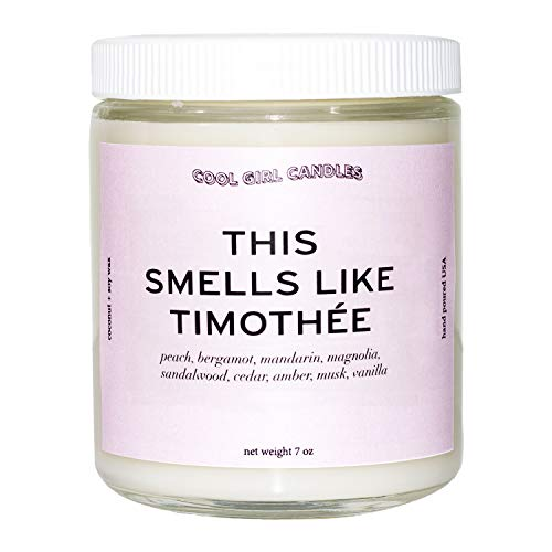Cool Girl Candles | This Smells Like Timothee Chalamet Scented Candle | All Natural Coconut Soy Wax | The Best Strong Scented Candles for Home Fragrance | Clean Burning | Funny Gifts | 8.5 fl oz