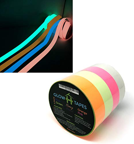 Glow in Dark Tape | Heavy Duty Set of 4 Bright Colors: Green, Orange, Blue, Pink | Strong With Hours of Glow | Great For Glow Party Supplies & Decorations | Each Luminous Glow Tape is 1' x 200' Inches