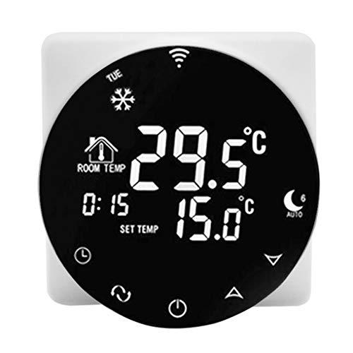 Jinghengrong WiFi termostato Inteligente de calefacción eléctrica del regulador de Temperatura Ronda de Aluminio Espejo de Cristal Cubierta del termostato